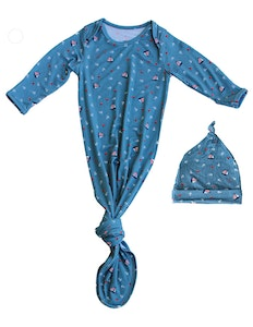 Keep Me Cosy® Baby Knotted Gown + Hat in Luxurious Bamboo Fabric - Nautical Teal