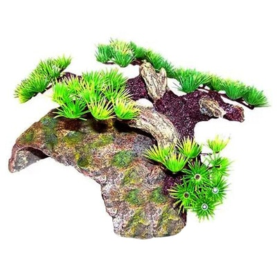URS Ornament Mossy Boulder Hide w/ Side Bonsai Reptile Accessory
