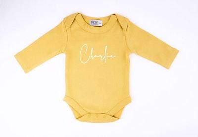 Personalised Mustard L/S Onesie - Fancy Font