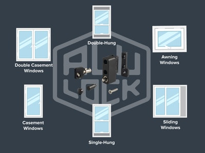 ALU - lock Multi function child safety lock and general window lock sold in packs of 10 locks in black finish