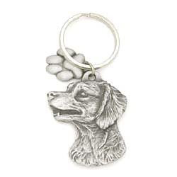 Key Companions Solid Fine Pewter Brittany with Paw Keychain