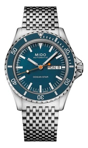 Mido Ocean Star Tribute - Stainless Steel - interchangeable Stainless Steel Strap and Blue Fabric Strap