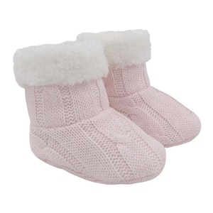 Cable Knit Sherpa Booties - Blush Pink