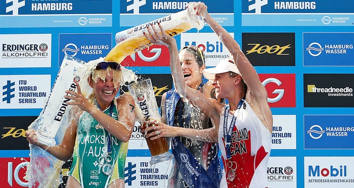 Siegerehrung ITU World Triathlon Hamburg 2014