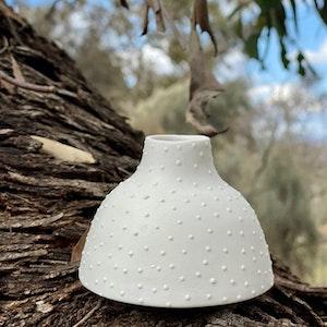 Ceramic Bud Vase - Dotty - Short - White
