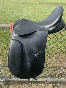 """black 16"""" dressage saddle mounted 2010"""