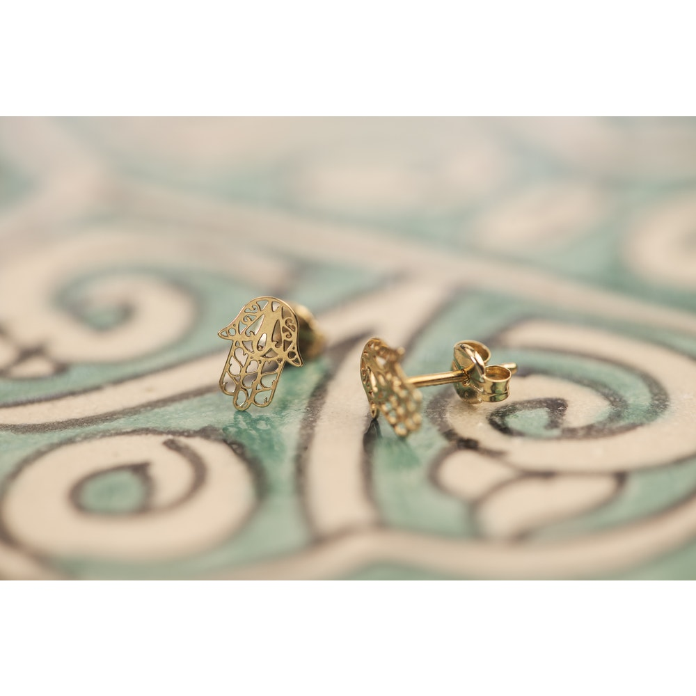 Jessica Alice Jewellery 9ct Solid Gold Hand Of Fatima Earrings