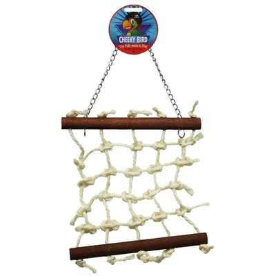 Cheeky Bird Natural Rope Lattice Hanging Wooden Bird Toy - 2 Sizes