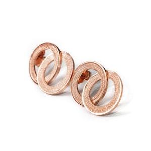 Alexa Dainty Open circles Filigree Earrings -Rose Gold Plated-
