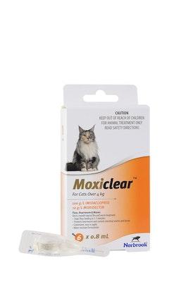 MOXICLEAR Flea & Worming Spot Treatment >4kg Cat 6 Pack