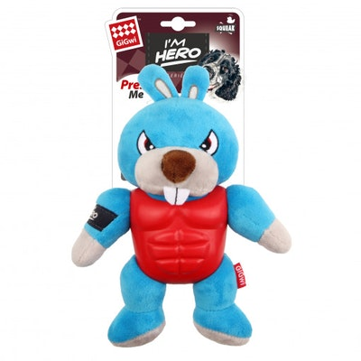 GIGWI Im Hero Armoured Rabbit Plush w/ Squeaker Dog Toy