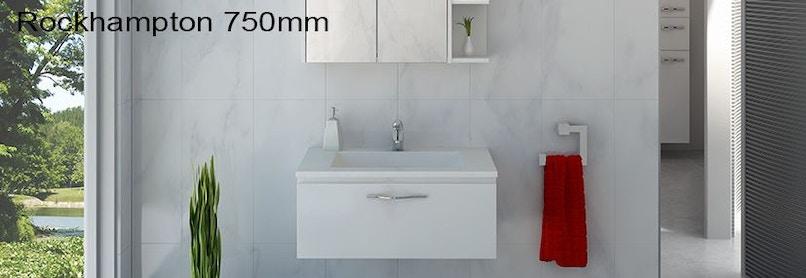 Timberline rockhampton 750mm wall hung vanity pre built for Premade bathroom vanities