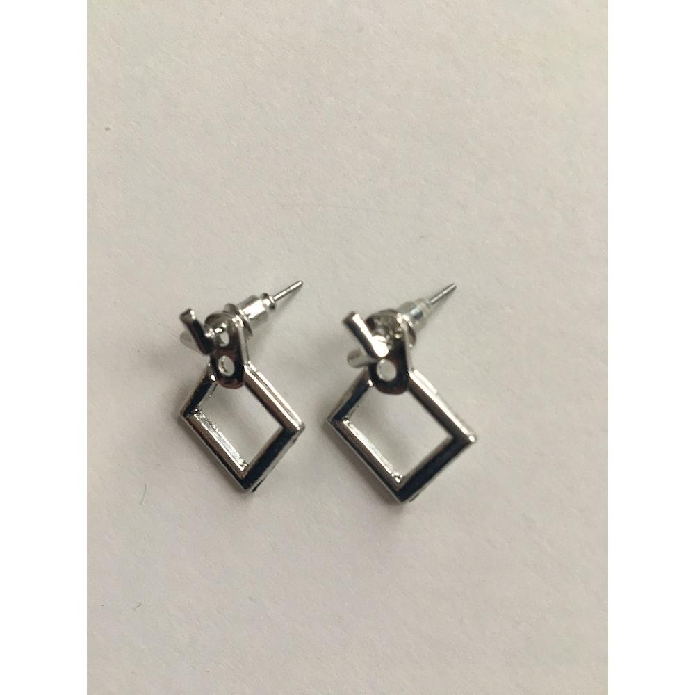 One of a Kind Club Silver Diamond Shaped Earrings