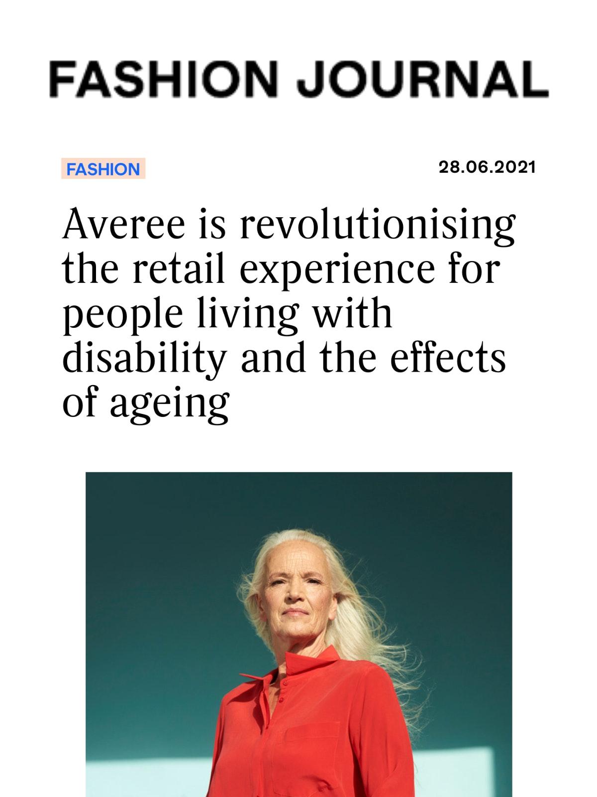 A screenshot of the Fashion Journal article