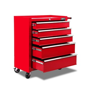 5 Drawers Roller Toolbox Cabinet Red