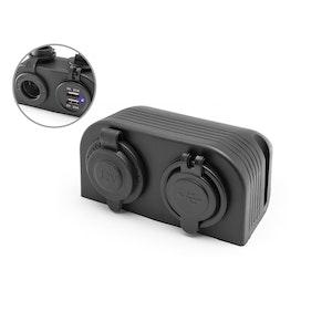 Dash Mount 12V Socket & Twin USB Power Supply
