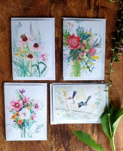 Wildflower Greeting Cards pack of 4