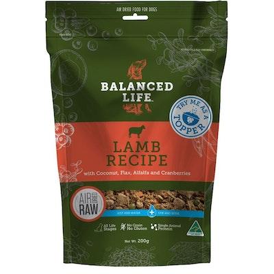 BALANCED LIFE Dog & Puppy Air Dried Raw Dog Food Topper Lamb 200g