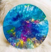 Original Paint Poured Artwork-Rainbow Manoeuvre