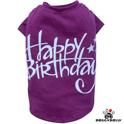 DoggyDolly SMALL DOG - Birthday Doggy T Shirt Purple