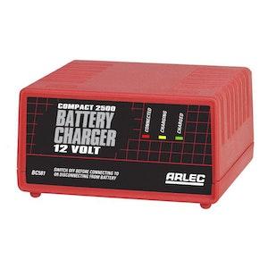 Arlec Battery Charger 12v Compact 2500 2.5Ah Continuous BC581
