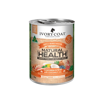 IVORY COAT Grain Free Adult Chicken & Coconut Oil Wet Dog Food 400G
