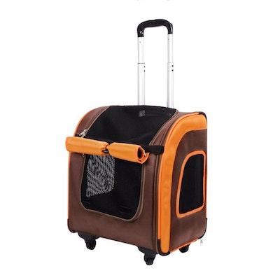 Ibiyaya Liso Backpack Parallel Transport Pet Trolley - Orange-Brown