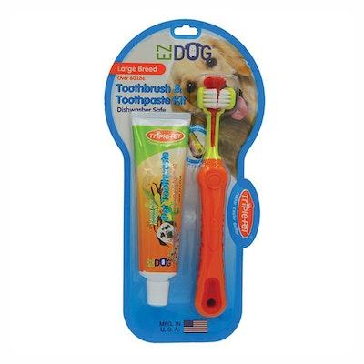 Triple Pet Ez-Dog Dental Kit Toothbrush & Paste for Large Breed Dogs