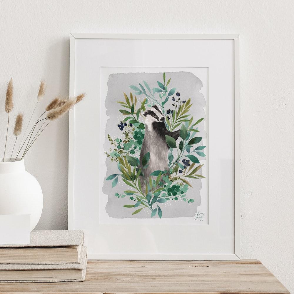 Laura Elizabeth Illustrations Badger Fine Art Print