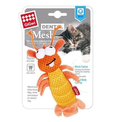 GIGWI Dental Mesh Shrimp w/ Catnip Interactive Cat Toy