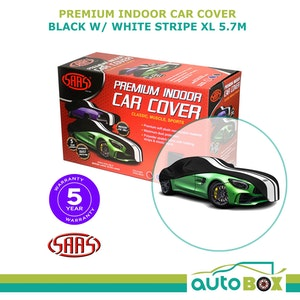 SAAS Premium Indoor Classic Car Cover Extra Large 5.7M Black with White Stripe