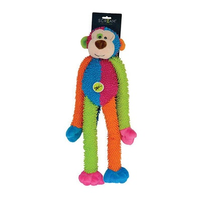 ScreamPet Scream Crew Monkey Dog Squeaker Toy Loud Multicolour 43cm