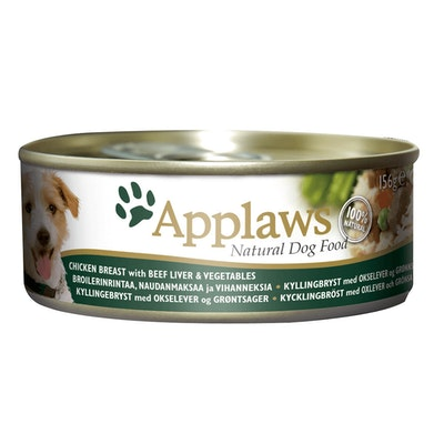 Applaws Wet Dog Food Chicken w/ Beef Liver & Vegetables Tin 16 x 156g