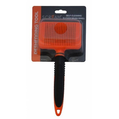 ScreamPet Scream Self-Cleaning Slicker Brush for Dogs Loud Orange - 2 Sizes