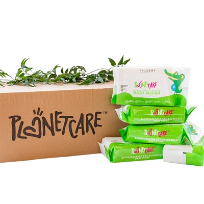 Progeny Stores PlanetCare Biodegradable & Flushable Baby Wet wipes - 80 Sheets in a pack (24 packs in a Carton)