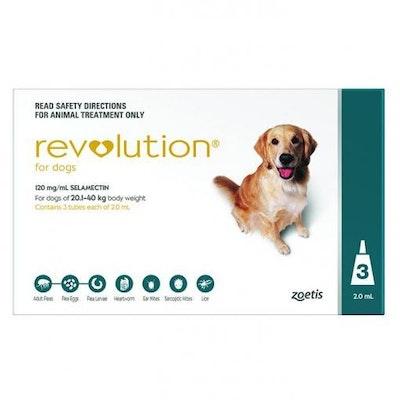 Revolution Green Flea & Worming Treatment 20-40kg Dog 3 Pack