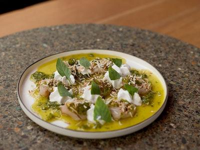 Kingfish Sashimi, Green Nam Jim, Coconut and Thai Basil