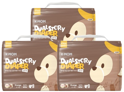 K-Mom Dual Story Diapers/Nappies Pants Size XL 12-17kg - 3 packs (96pcs)