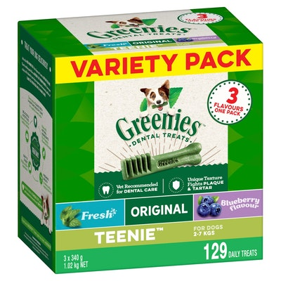Greenies Teenie 3-Flavour Variety Pack Dental Dog Treats 3x340G