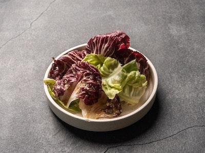 Radicchio & butter lettuce salad, roasted garlic dressing