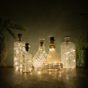 Vintage Decanter and Bottle Fairy Lights Lantern