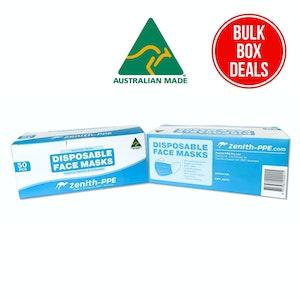 Zenith PPE Australian Made Bulk Carton 3 Ply Non-Surgical Disposable face masks - 24 x 50 Retail packs