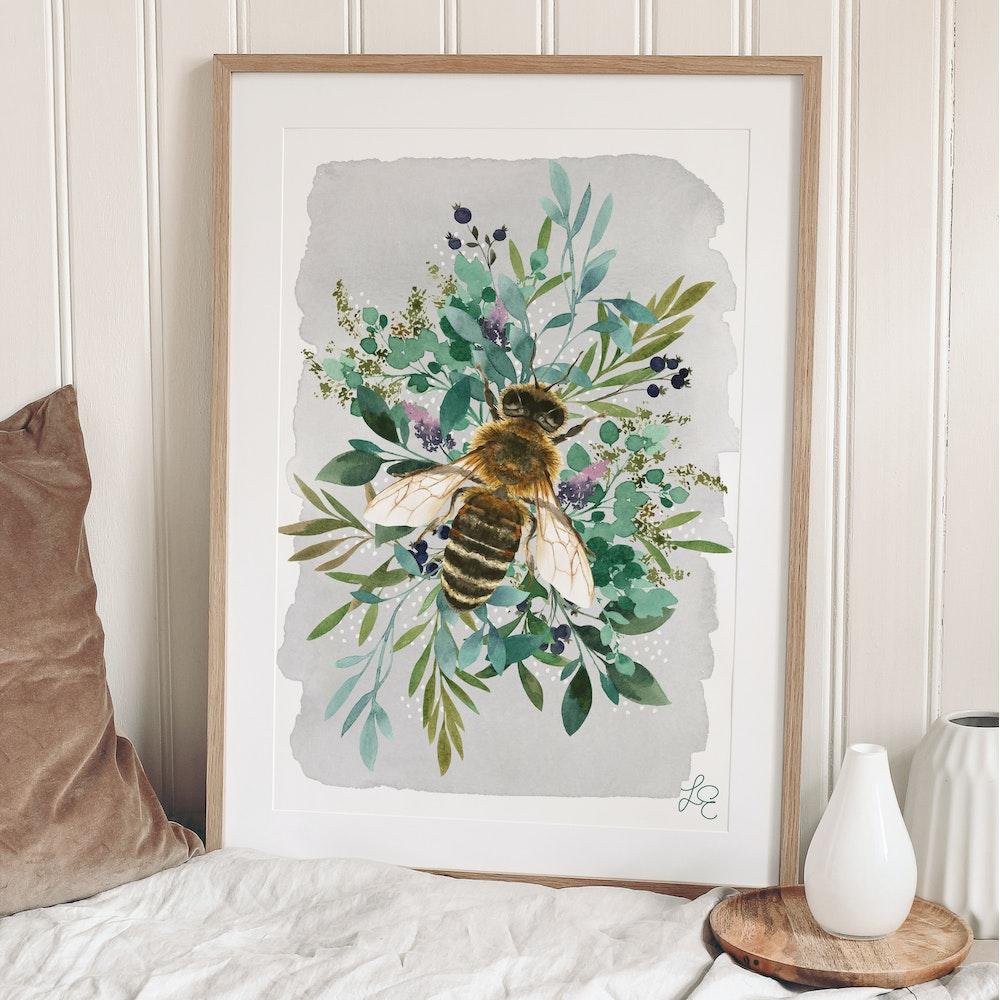 Laura Elizabeth Illustrations Bee Fine Art Print