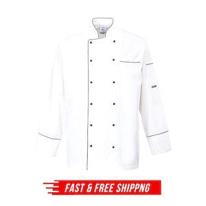 Portwest 100% Cotton Cambridge Chefs Jacket Cook Kitchen - White