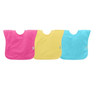 green sprouts Pull-over Stay-dry Toddler Bib (3pk)-Pink Set-9/18mo