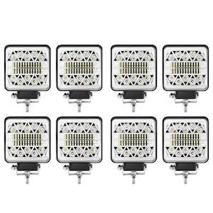 LIGHTFOX 8x 4inch LED Work Light Bar Square Spot Flood Reverse Driving Lamp OffRoad 4x4