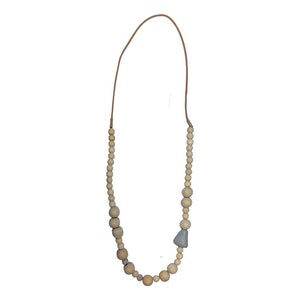 Stone Feature, Mix Wood Bead Necklace