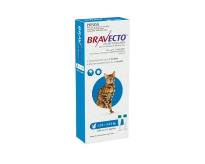 BRAVECTO Spot On for Cats 2.8 - 6.25kg 2 Pack Blue