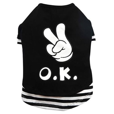 DoggyDolly THICK DOG - OK OK OK Black Doggy T Shirt