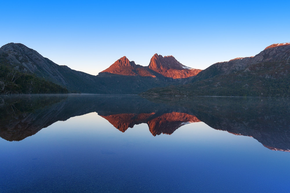 Cradle Mountain at sunset in Tasmania